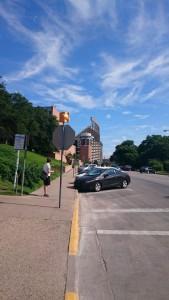 UT Austinのスタジアムが遠くに見える。