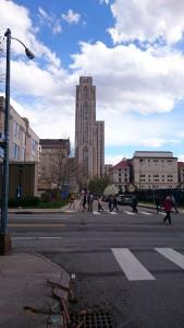 春のキャンパスツアー (その1): 遠くに歩くグループがツアーの一行。先頭の黄色と紺のポロシャツが大学生のガイドさん。